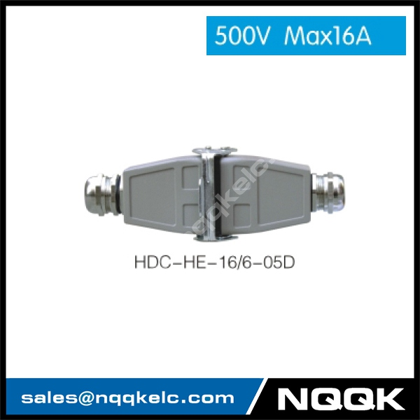 HDC HE 16/6 500V max16A Industrial rectangular plug socket heavy duty connector