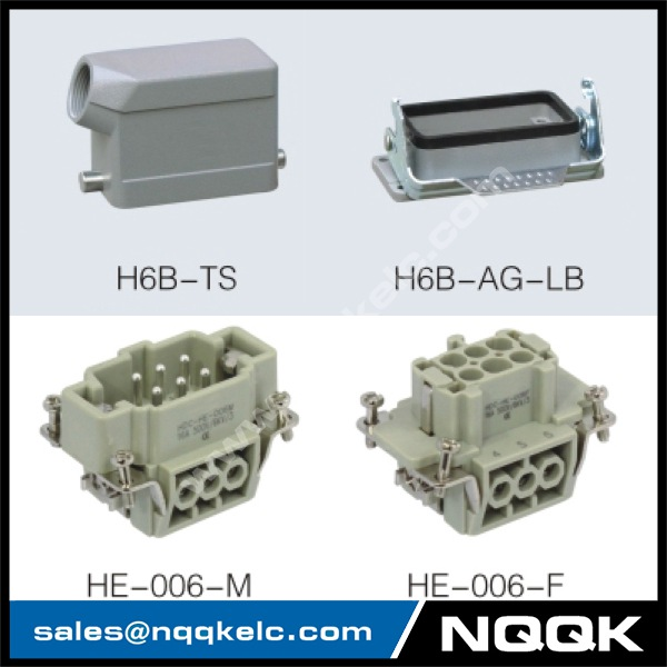 HE series 6 Poles of connector heavy duty power connector